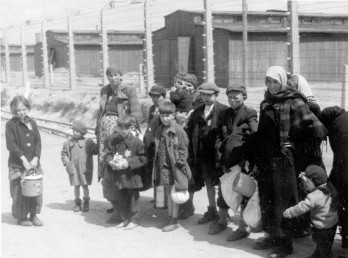 Birkenau, Poland, Jewish women and children walking to the gas chambers, 5/1944